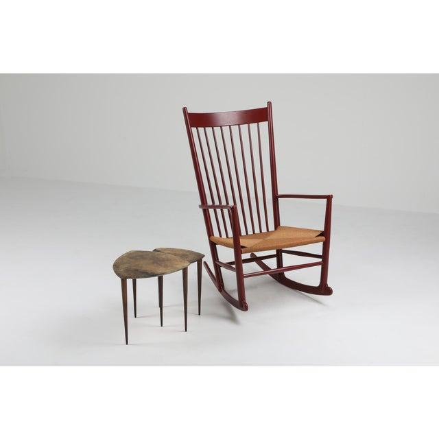 Burgundy Hans Wegner J16 Rocking Chair in Burgundy For Sale - Image 8 of 9