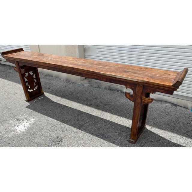 Chinese Chinese Elm Altar Large Console Table For Sale - Image 3 of 13