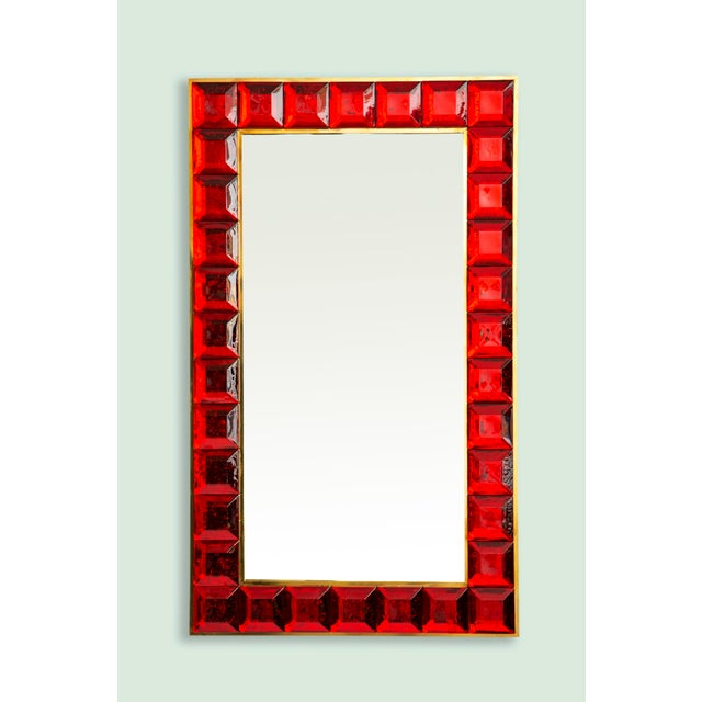Contemporary Contemporary Red Diamond Murano Glass Mirror For Sale - Image 3 of 9