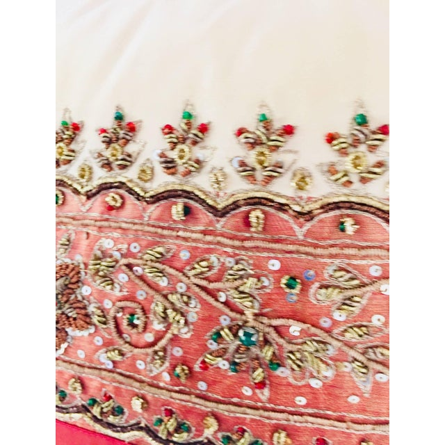 Decorative Ivory Color Silk Throw Pillow Embellished With Beads For Sale In Los Angeles - Image 6 of 10