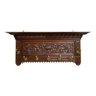 Antique French Country Carved Dark Oak Wall Shelf Coat Hat Plate Rack Brass For Sale