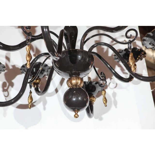 Italian Black and Gold Venetian Chandelier For Sale - Image 3 of 9