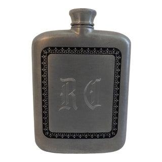 Royal Selangor Pewter Engraved Hip Flask For Sale