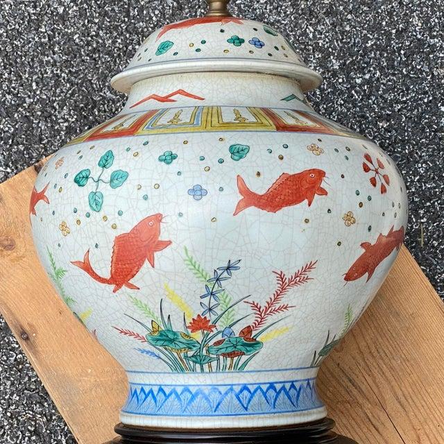 Porcelain Ginger Jar Koi Lamp For Sale In Philadelphia - Image 6 of 9