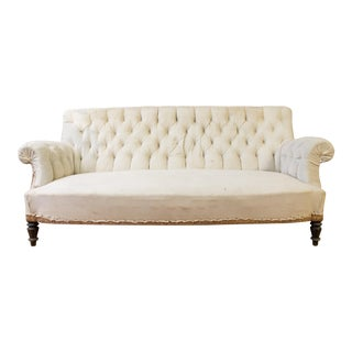 19th Century Napoleon III Tufted Muslin Sofa For Sale