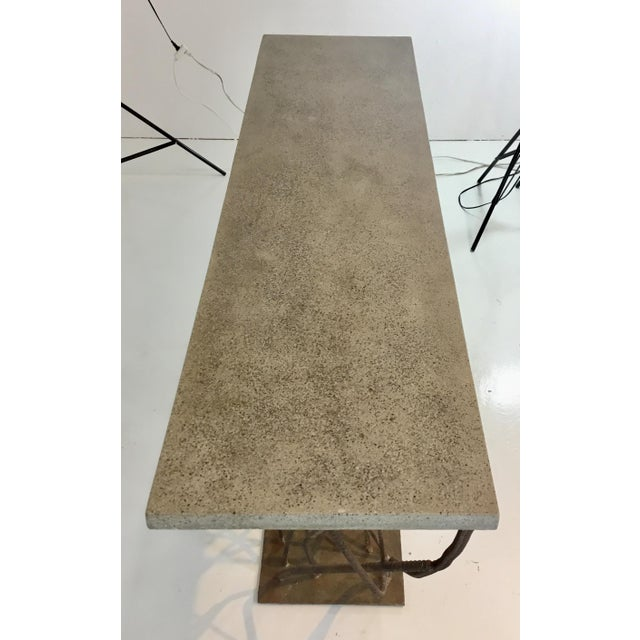 Industrial Industrial Modern Currey & Co. Concrete and Rebarb Prototype Console Table For Sale - Image 3 of 5