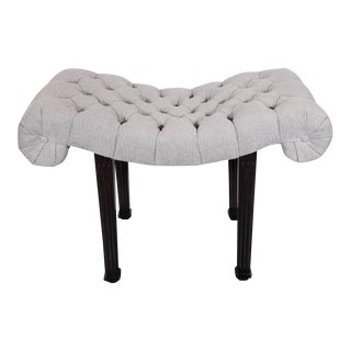 1940s Hollywood Regency Scroll Design Button Tufted Bench by Grosfeld House For Sale