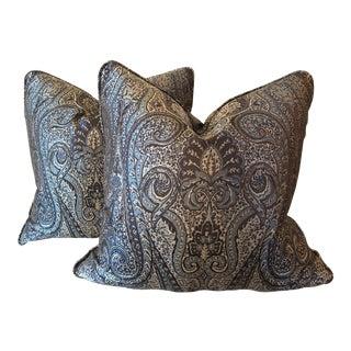 Blue Paisley Silk Pillows - A Pair