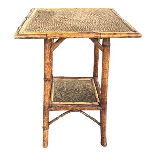 Antique Victorian Bamboo Table With Faux Fur For Sale
