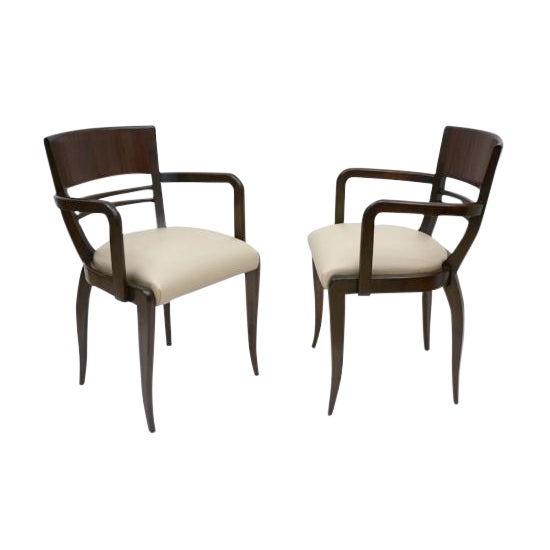 French Rosewood Curved Back Arm Chairs - a Pair For Sale