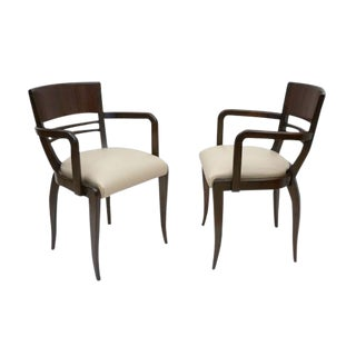 Pair of French Rosewood Arm Chairs For Sale