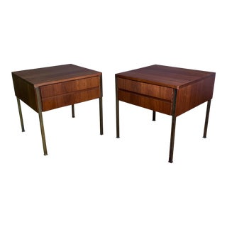 Pair Edmund Spence Walnut and Brass End Tables, Sweden 1945 For Sale