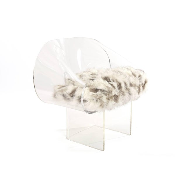 Mid-Century Modern 1970s Robert Van Horn Lucite Ribbon Chair and Ottoman - a Pair For Sale - Image 3 of 7