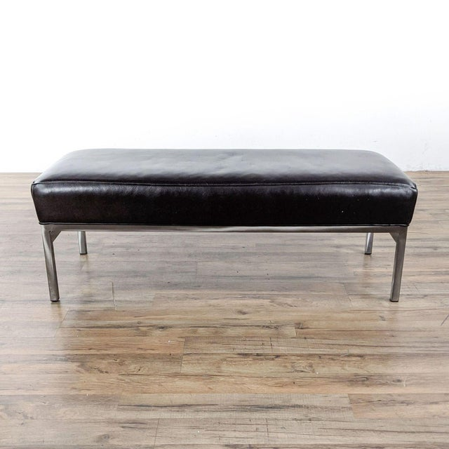 Room & Board Leather and Steel Bench in Urbano Brown For Sale - Image 10 of 10
