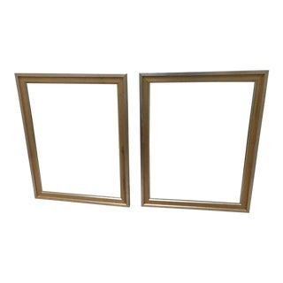 Outter Band Gold Silver Wash-Inner Antique Gold Frames - A Pair For Sale