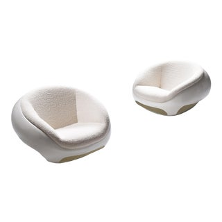 Mario Sabot Sculptural Fiberglass Lounge Chairs in Bouclé For Sale