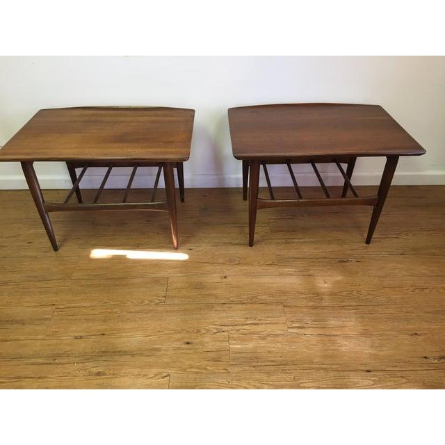 Bassett Mid-Century Two Tier Walnut Surfboard Side Tables - Pair - Image 4 of 11