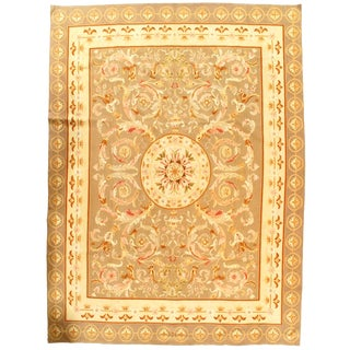 "French Aubusson Design Flat Weave Rug-7′4"" X 10′4″ For Sale"