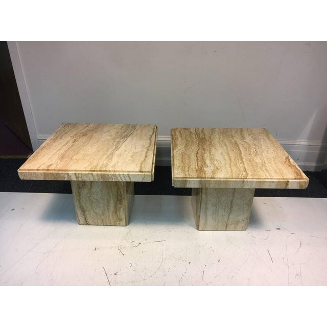 Italian EXCEPTIONAL PAIR OF ITALIAN END OR SIDE TABLES IN BEAUTIFUL TRAVERTINE For Sale - Image 3 of 4