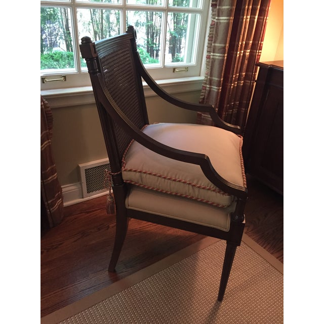 White Cane Backed Side Chair With Custom Cushion For Sale - Image 8 of 9