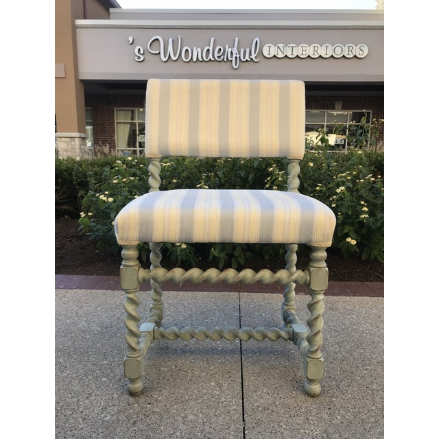 Set of 6 Gustavian barley twist dining chairs painted in a light aqua blue with a distressed finish and a striped vintage...