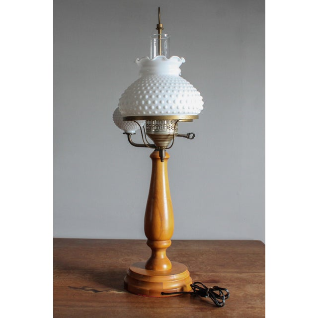 1950s Vintage Double Hobnail Milk Glass Student Lamp With Maple Wood Base For Sale - Image 4 of 11