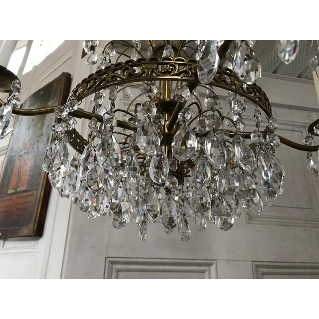 Russian Baltic Crystal Layered Polished Brass Waterfall Chandelier For Sale In Philadelphia - Image 6 of 11