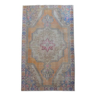 Vintage Turkish Hand Knotted Area Rug - 4′6″ × 7′6″ For Sale
