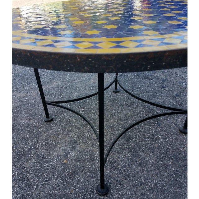 "Moroccan Blue / Yellow Mosaic Top Wrought Iron 32"" Table For Sale In Orlando - Image 6 of 7"