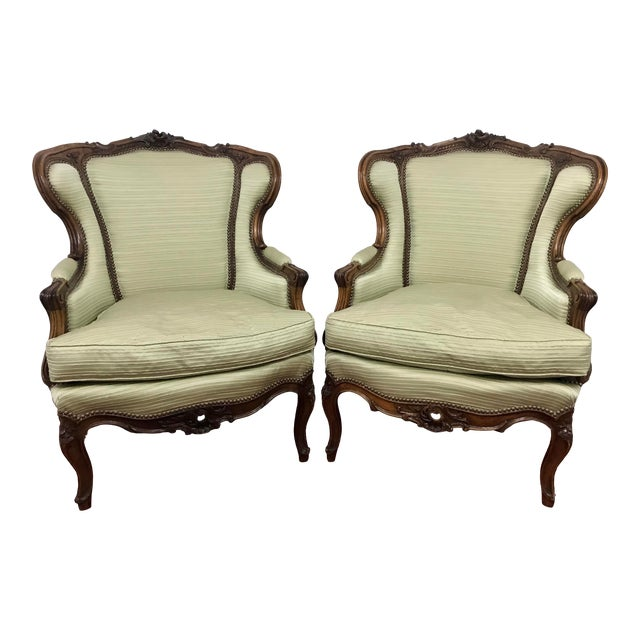 Louis XV Style Walnut Bergers a Pair For Sale