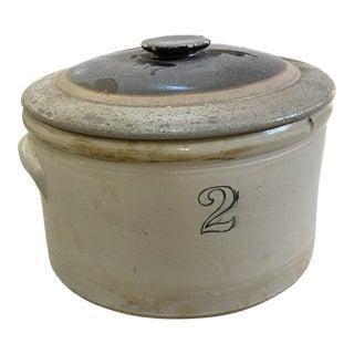 "Vintage ""2"" Stoneware Crock With Lid For Sale"