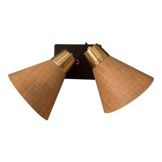 Mid Century Fiberglass Prescolite Double Wall Sconce Lights For Sale