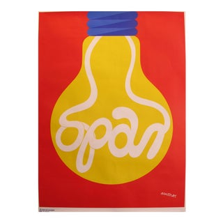 1978 Original Danish Energy Company Poster - Spar Pa Energen - Lightbulb For Sale
