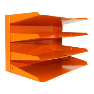 Orange Metal Desk Organizer For Sale