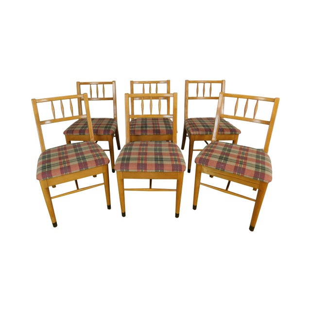 "Milo Baughman for Drexel ""New Today's Living"" Mid Century Modern Set 6 Blonde Dining Chairs For Sale - Image 13 of 13"