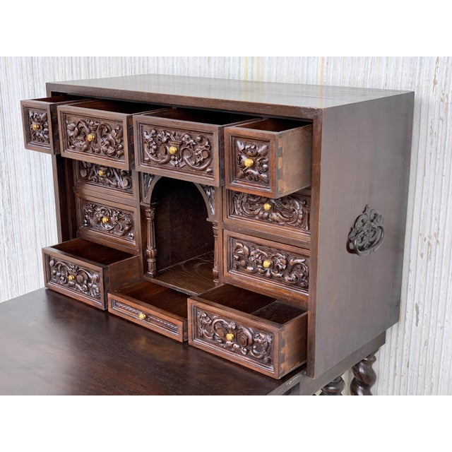 18th Spanish Bargueno of Columns With Foot Bridge, Cabinet on Stand For Sale In Miami - Image 6 of 13