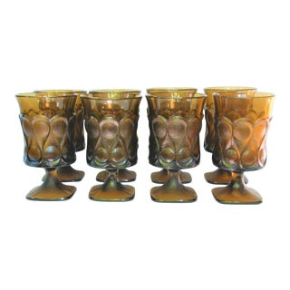 Mid-Century Smoky Wine Glasses - Set of 8 For Sale