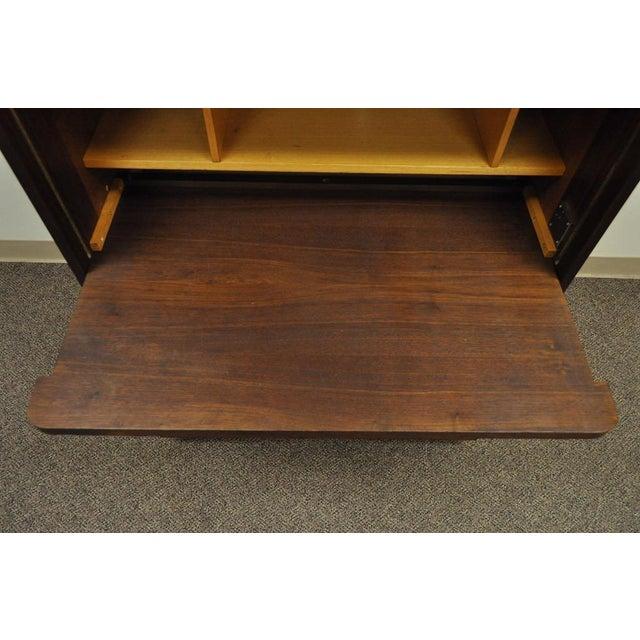 1960's Danish Style Teak Tambour Roll Top Secretary Desk For Sale - Image 4 of 13