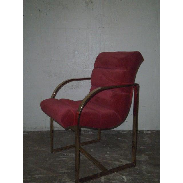 M. Baughman Cherry Velvet & Brass Chairs- A Pair - Image 4 of 8