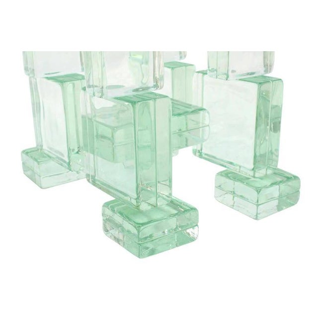 Glass Solid Glass Blocks Glass Top Coffee Table For Sale - Image 7 of 9