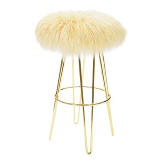Tipped Beige Curly Hairpin Brass Swivel Barstool For Sale