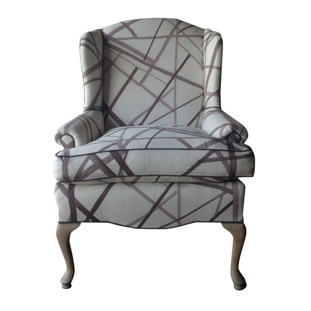 Vintage Wingback Chair in Abstract Lines Upholstery For Sale