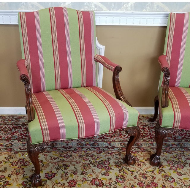 Chippendale Martha Washington Mahogany Chippendale Style Southwood Furniture Gainsborough Armchairs - A Pair For Sale - Image 3 of 10