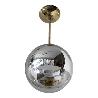Mid-Century Modern Space Age Spherical Pendant Light With Mercury Stripe For Sale