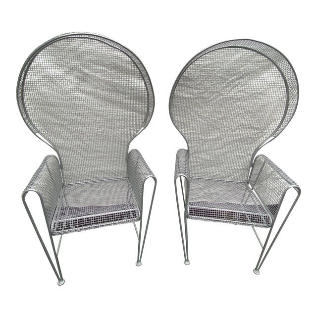 Pair of High Back Outdoor Canopy Chairs by Russell Woodard For Sale