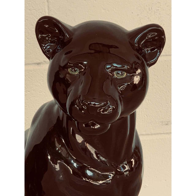 Pair of Italian Porcelain Seated Black Panthers For Sale - Image 4 of 12