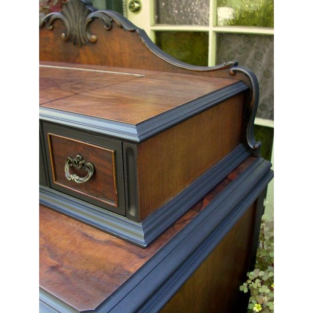 Vintage Flame Walnut & Black Highboy Dresser - Image 8 of 10