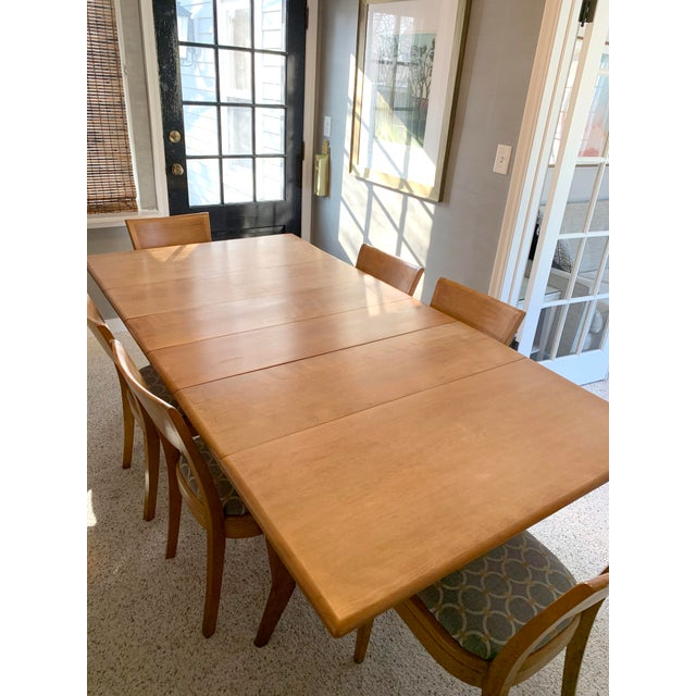 Mid-Century Modern Mid-Century Modern Heywood-Wakefield Harmonic Drop Leaf Dining Table Set - 7 Pieces For Sale - Image 3 of 13