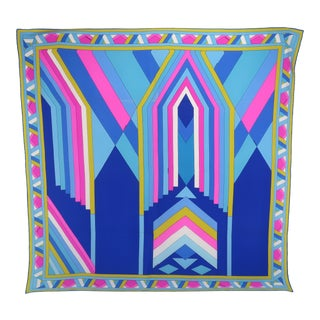 Mod French 1970's Leonard Blue & Pink Silk Scarf For Sale