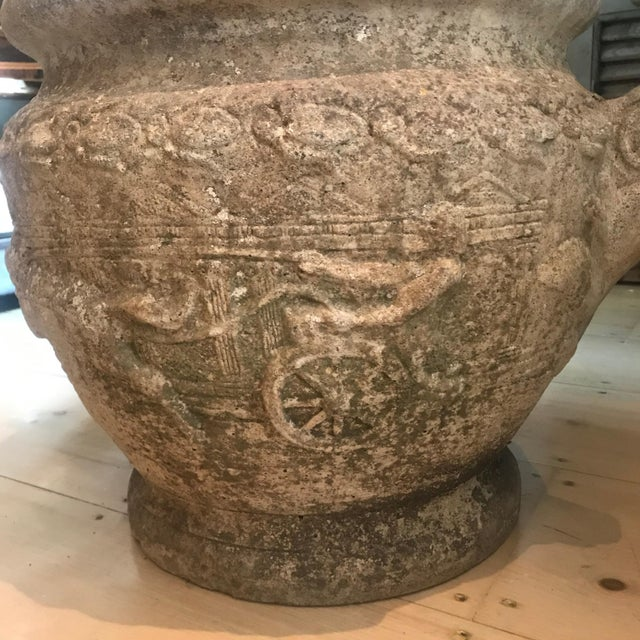 19th Century French Relief Stone Urns -A Pair For Sale - Image 12 of 13